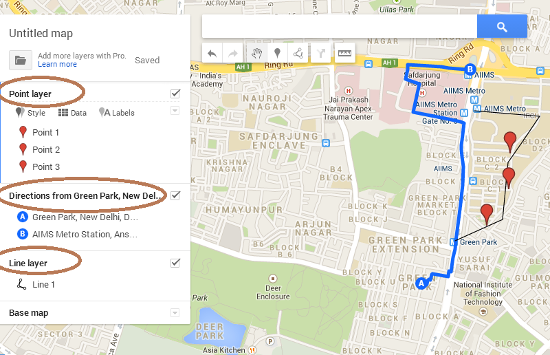 Create save Export and download KML file from Google map on
