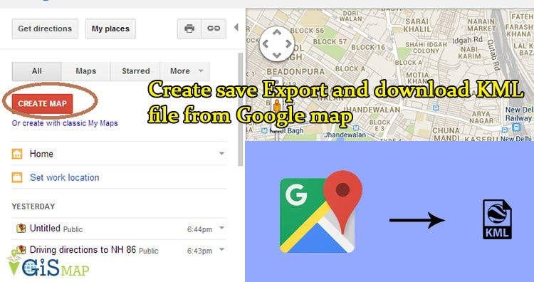 Create save Export and download KML file from Google map