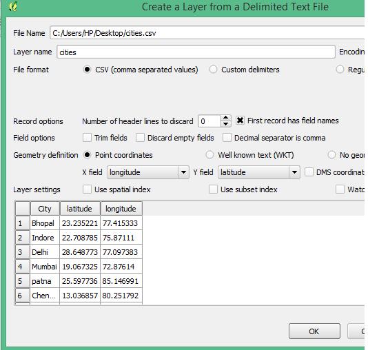 Upload Excel latitude longitude in QGIS as Spatial Layer
