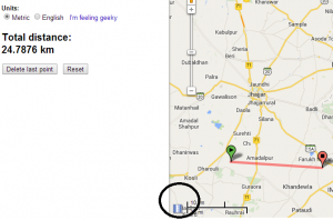 measure straight line distance in google map