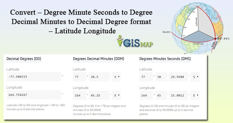Convert - Degree Minute Seconds to Degree Decimal Minutes to Decimal Degree format - Latitude Longitude
