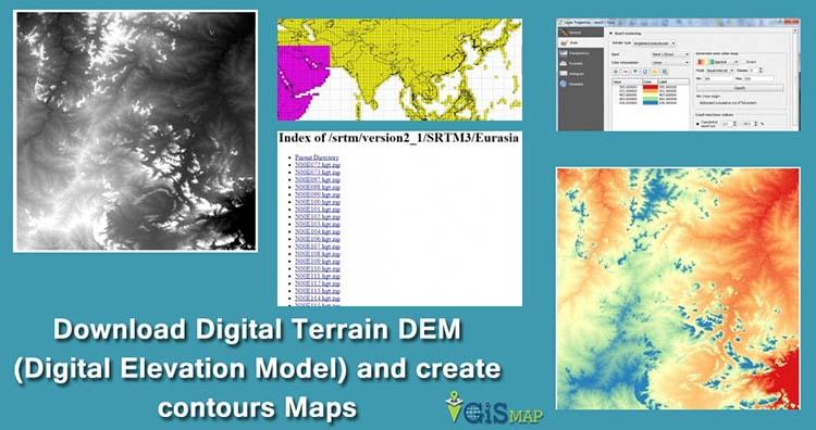 Download Digital Terrain DEM (Digital Elevation Model) and create contours Maps