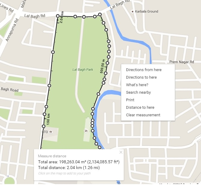Measure Area in Google Map - Print and share measurement