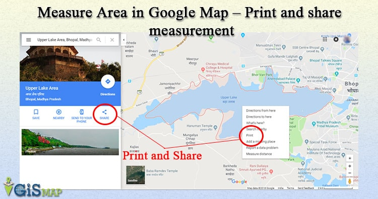 Measure Area in Google Map – Print and share measurement