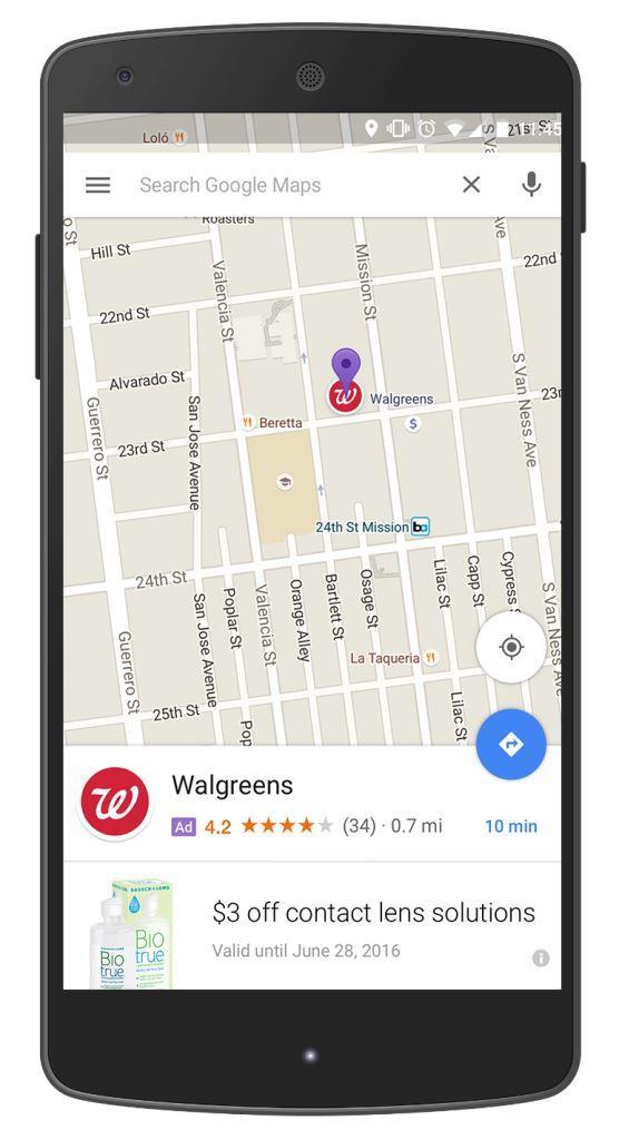 Google Map advertisement as purple pin and logos