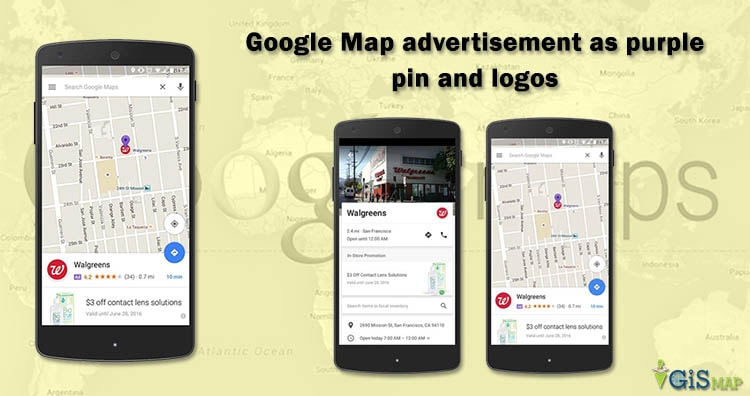 Google Map advertisement as purple pin and logos