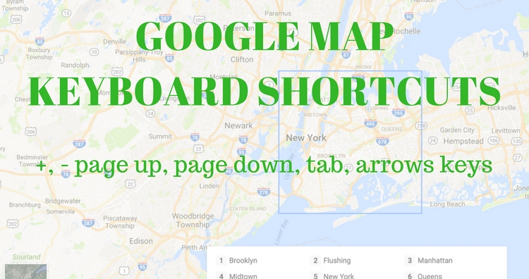Google map new Keyboard Navigation Controls Shortcuts