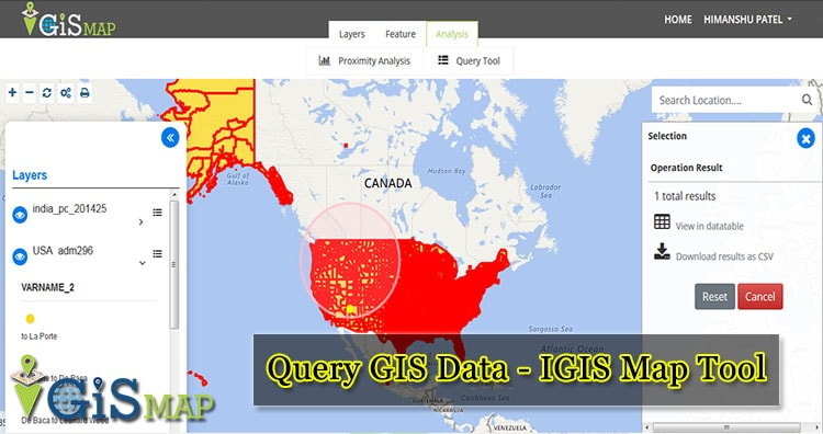 Query GIS Data – IGIS Map Tool