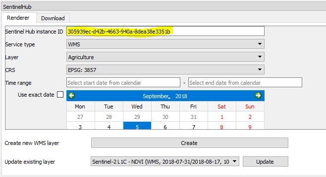 use sentinel hub in QGIS 3.2.1