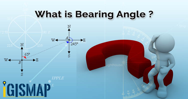 What is bearing and calculate angle between two points