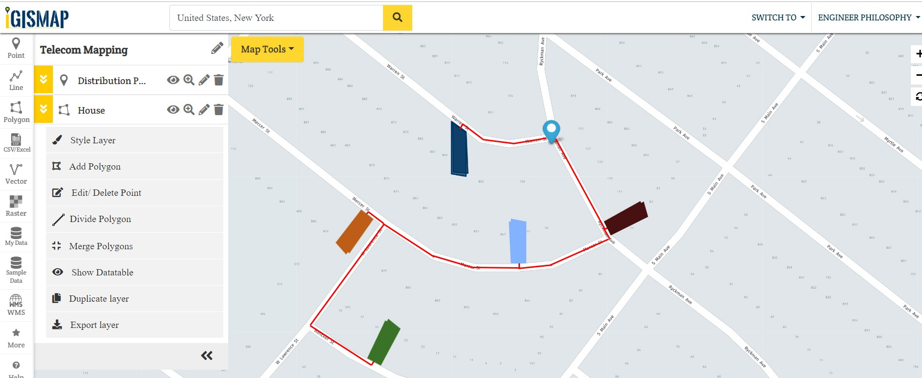 Locate DP Junctions, Ports, Fiber Cables, Connected Houses - GIS Telecom