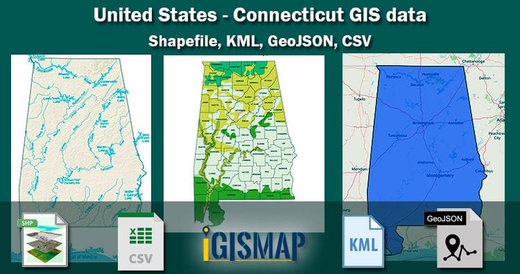 United States – Connecticut GIS Data – Shapefile, Kml, Csv, Geojson