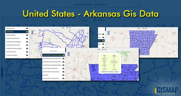 United States – Arkansas GIS data – Shapefile, Kml – Boundary, County, highway, rail line