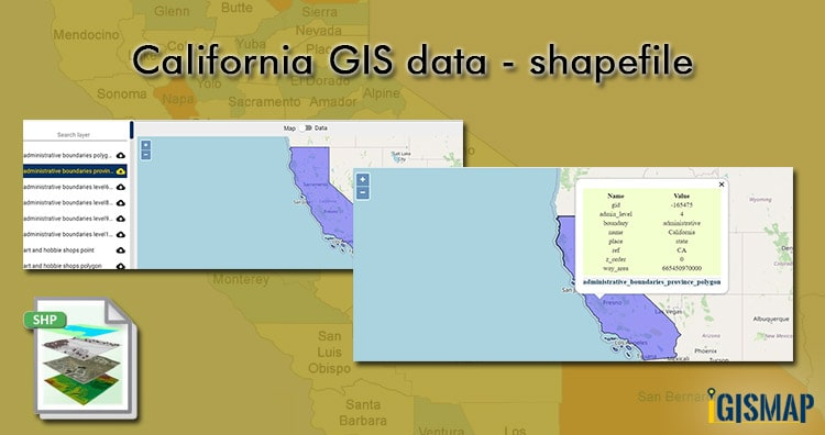 California GIS data – shapefile, administrative boundary, county, rail, highway