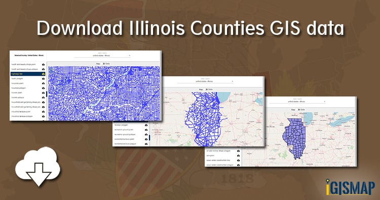 Download Illinois Counties GIS data – United States – Railway, Highway line