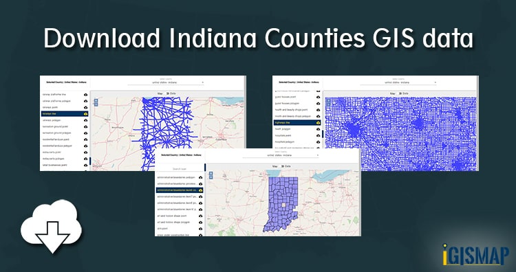 Download Indiana Counties GIS data – United States – Railways, Highway line, maps