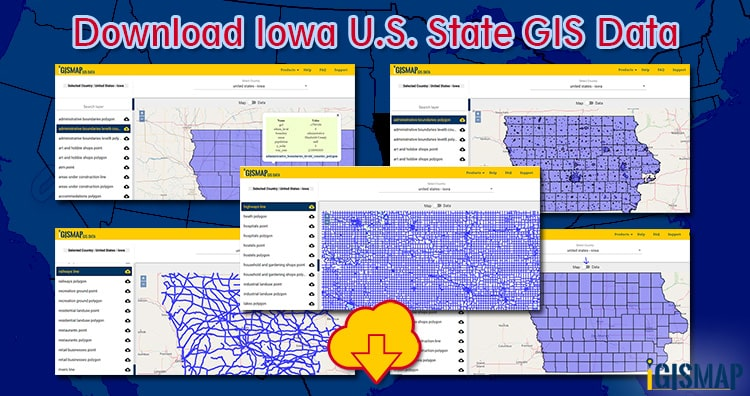 Download Iowa U.S. State GIS Data – Counties, boundaries, railways, highways line shapefile