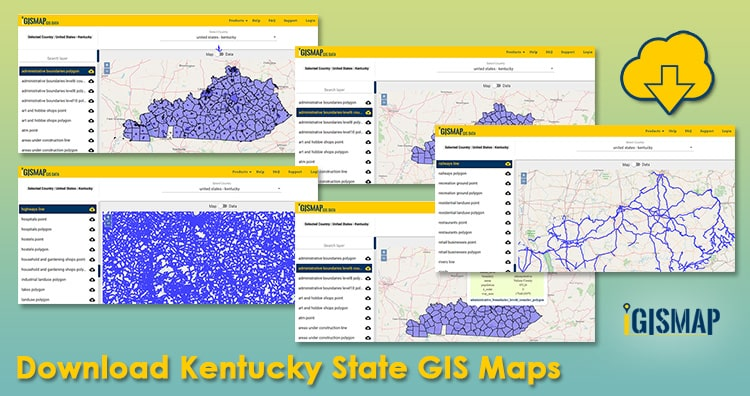 Download Kentucky State GIS Maps – Boundary, Counties, Rail, highway