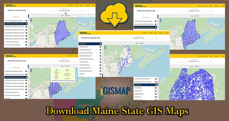 Download Maine State GIS Maps – Boundary, Counties, Rail, highway