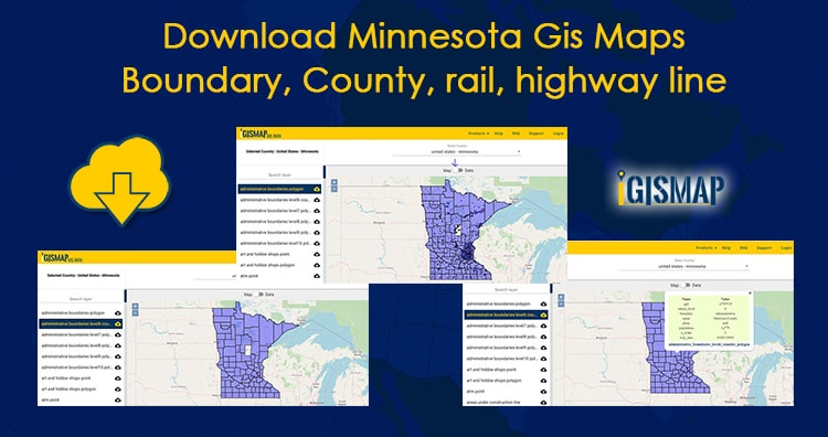 Download Minnesota Gis Maps – Boundary, County, rail, highway line