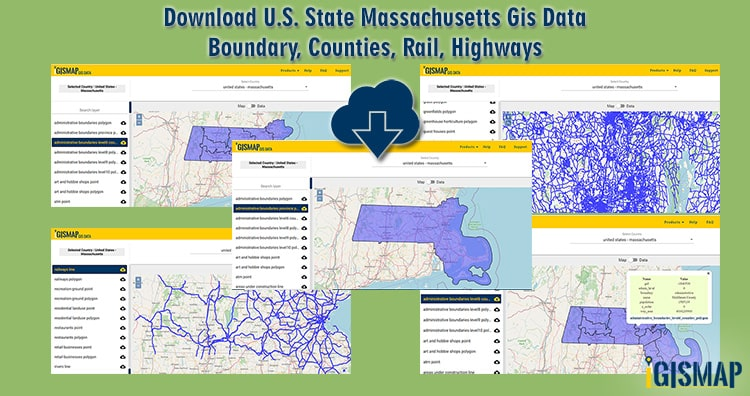 Download U.S. State Massachusetts Gis Data -Boundary, Counties, Rail, Highways