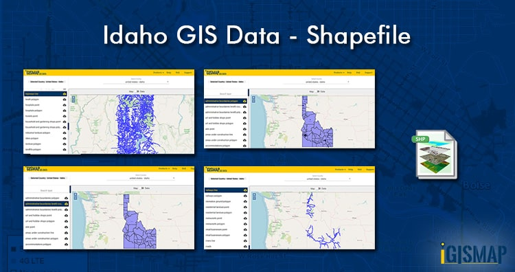Download United States – Idaho Counties Shapefile, Highway, Railway line