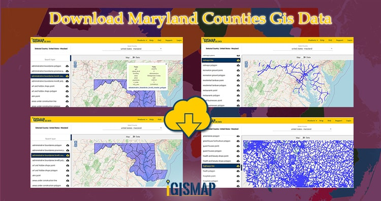 Download Maryland Counties Gis Data – State Boundary, Rail, Highways Line