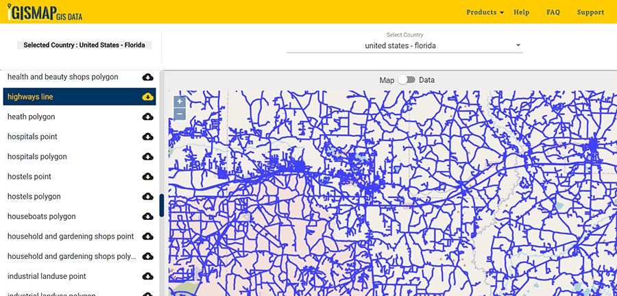 florida gis data - shapefile, administrative boundary
