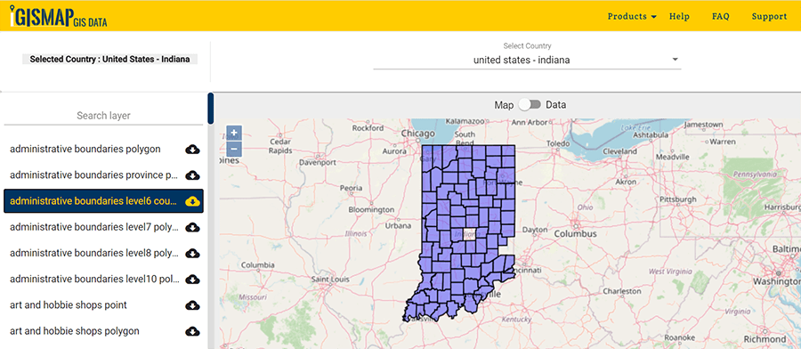 Download Indiana Counties GIS data