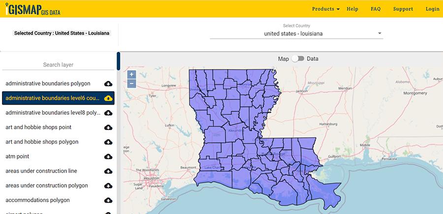 Louisiana State GIS Map