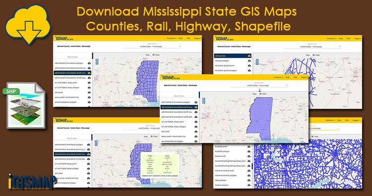 Download Mississippi state gis maps – counties, rail, highway, shapefile