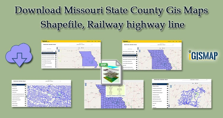 Download Missouri GIS Data Maps State, County- Shapefile, Rail, highway line