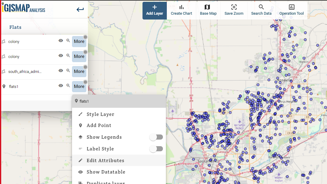 Multi layer bar chart with interactive gis map