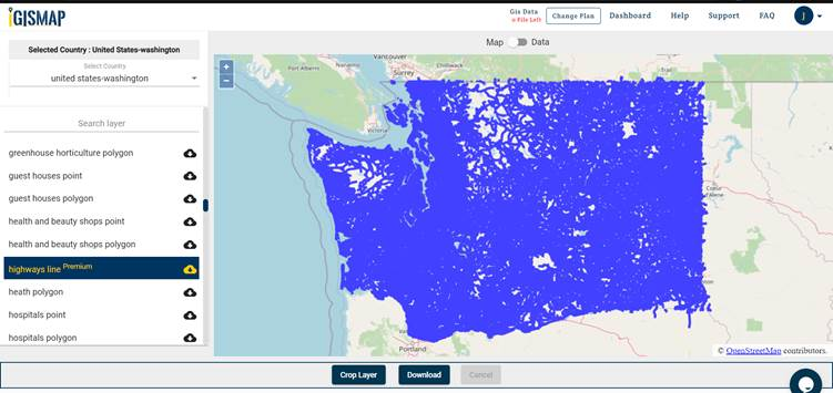 download Washington shapefile